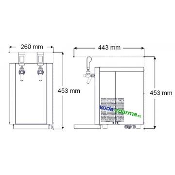 Výrobník sody LIMA 1/8 - 2 kohouty - rozměry